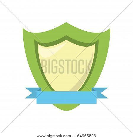 green shield protection emblem blue ribbon vector illustration eps 10