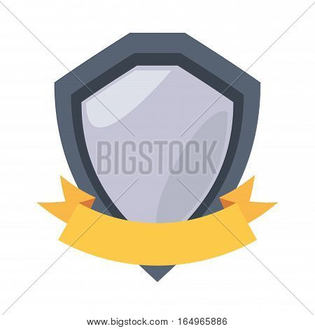 steel shield protection stamp yellow ribbon vector illustration eps 10
