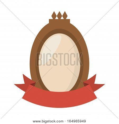 brown shield badge and red ribbon vector illustration eps 10
