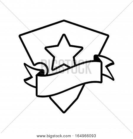 shield star stamp outline empty vector illustration eps 10