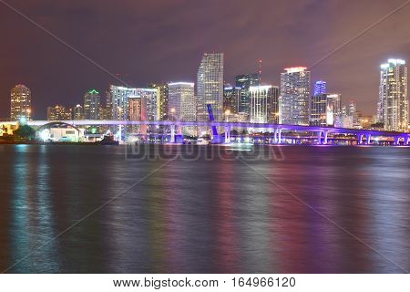 Miami, Florida - Usa - January 08, 2016: Miami, Florida - Usa - January 08, 2016: Miami Skyline From