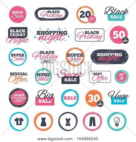 Sale shopping stickers and banners. Clothes icons. T-shirt with business tie and pants signs. Women dress symbol. Website badges. Black friday. Vector