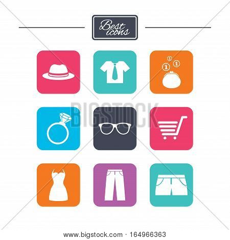 Clothes, accessories icons. Shirt, glasses and hat signs. Wallet with cash coins symbols. Colorful flat square buttons with icons. Vector