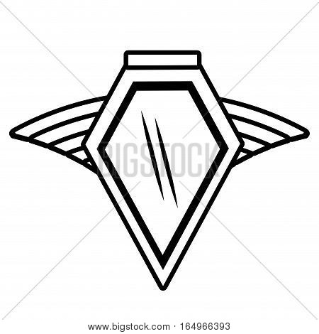 shield insignia military winged outline empty vector illustration eps 10