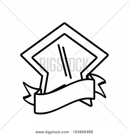 shield shape star and ribbon outline empty vector illustration eps 10
