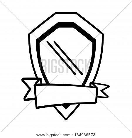 shield guarantee emblem ribbon outline empty vector illustration eps 10