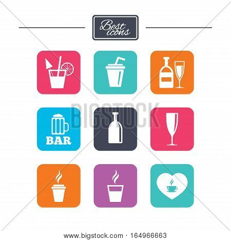 Beer, coffee and tea icons. Beer, wine and cocktail signs. Soft and alcohol drinks symbols. Colorful flat square buttons with icons. Vector