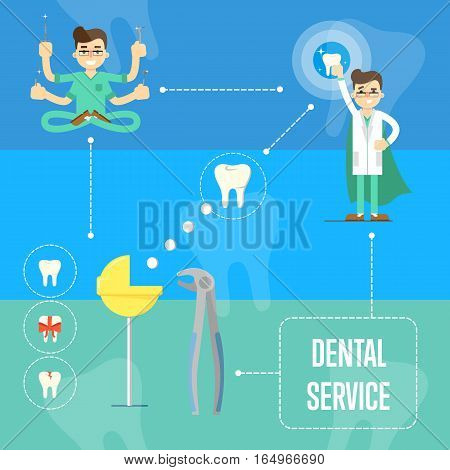 Dentist in medical uniform with many hands holding dental instruments and sitting in lotus posture. Dentist in white coat and superhero cape. Dental service banner. Tooth extraction process scheme