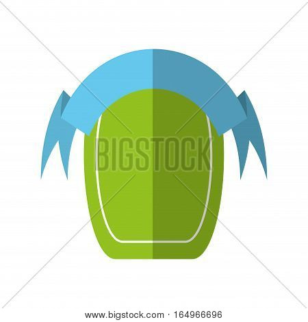 green shield empty blue ribbon shadow vector illustration eps 10