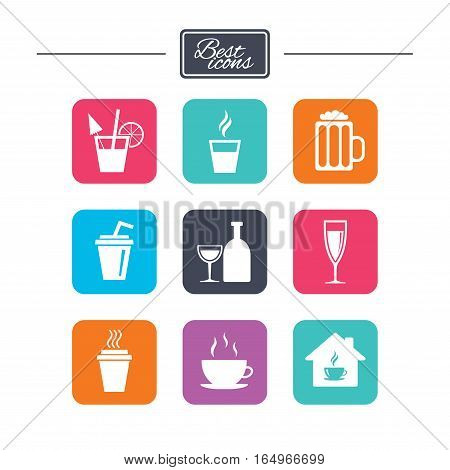 Tea, coffee and beer icons. Beer, wine and cocktail signs. Take away drinks. Colorful flat square buttons with icons. Vector