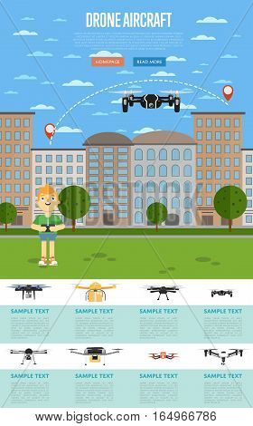 Drone aircraft template with boy operating flying robot in park vector illustration. Remotely controlled multicopter. Unmanned aerial vehicle. Piloted copter drone. Modern flying device.
