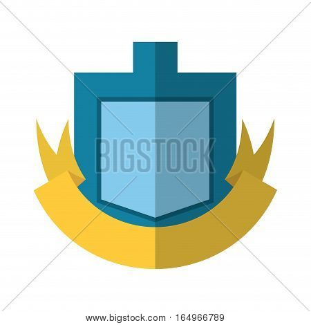 blue shield yellow ribbon badge shadow vector illustration eps 10