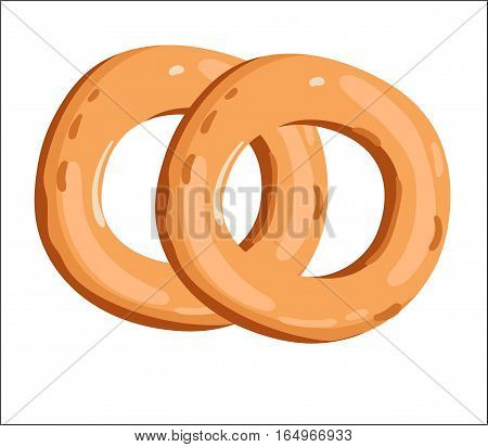Fresh bagel isolated on white background cartoon vector illustration. Bakery product, fresh pastry food icon. Sweet dessert, tasty bagel pastry logo, natural food, bakery shop design element.