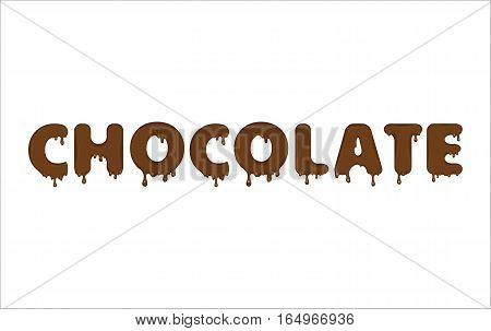 Vector word made of flowing chocolate. Letters with blots, drops, splashes and blobs. Glossy typeface. Text of brown liquid drops isolated on blue background.