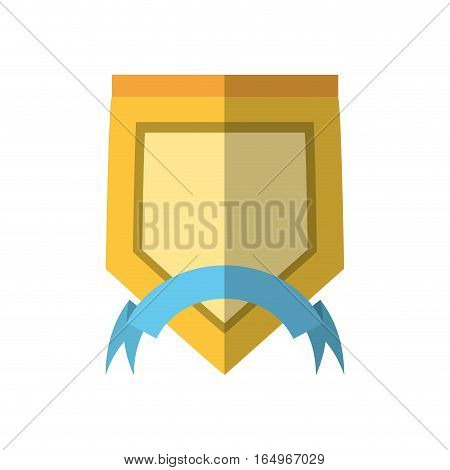 yellow shield with blue ribbon label shadow vector illustration eps 10