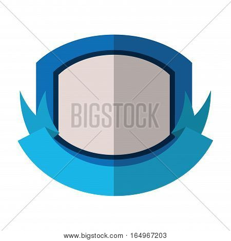 Blue shield with white background and blue ribbon shadow vector illustration eps 10