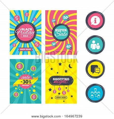 Sale website banner templates. Information sign. Group of people and database symbols. Chat speech bubbles sign. Communication icons. Ads promotional material. Vector