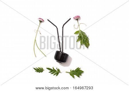 Flower patern on a white background. Silhouette of man and woman of flowers. Black mug with a cocktail stick. A family. Hawaiian party.