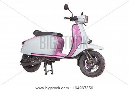 Pink motorcycle isolated on a white background.