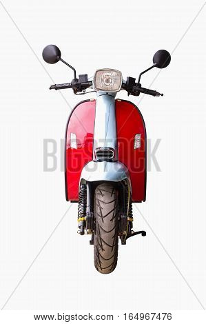 Front view of motorcycle isolated on white background.