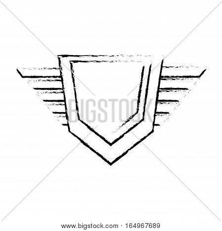 hexagon shield protection badge winged sketch vector illustration eps 10