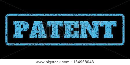 Light Blue rubber seal stamp with Patent text. Vector tag inside rounded rectangular shape. Grunge design and scratched texture for watermark labels. Horisontal sticker on a black background.