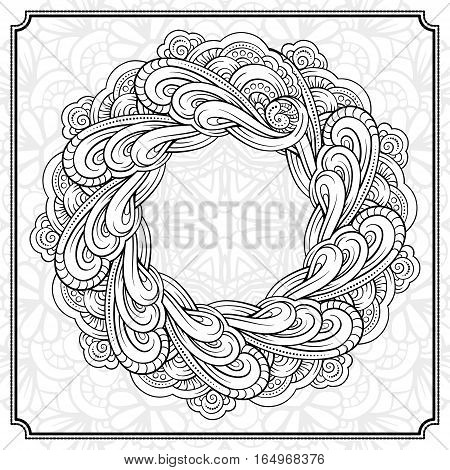 Vector abstract floral elements black and white frame. EPS 8