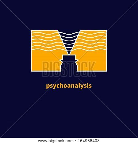 Logo psychologist. Icon of psychotherapy, of psychoanalysis. Symbol of communication. Vector illustration