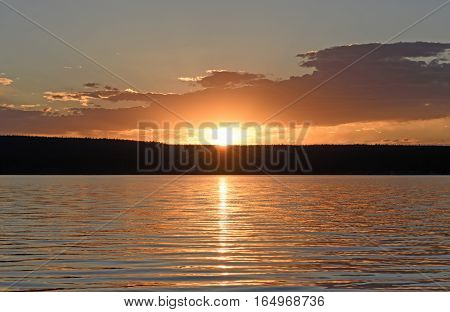 Sunset on Shoshone Lake in Yellowstone National Park in Wyoming