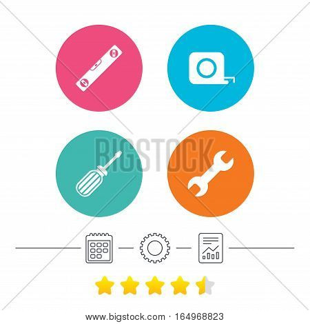 Screwdriver and wrench key tool icons. Bubble level and tape measure roulette sign symbols. Calendar, cogwheel and report linear icons. Star vote ranking. Vector