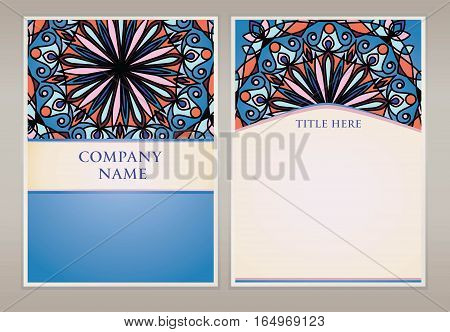 Vector abstract background with irregular circles. Face and circulation of leaflets in the same style.