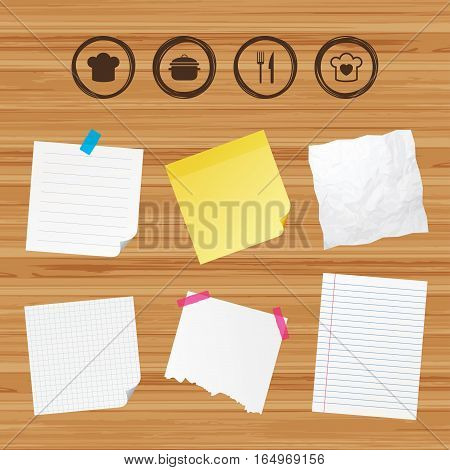 Business paper banners with notes. Chief hat and cooking pan icons. Fork and knife signs. Boil or stew food symbols. Sticky colorful tape. Vector