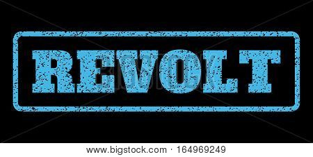 Light Blue rubber seal stamp with Revolt text. Vector caption inside rounded rectangular shape. Grunge design and scratched texture for watermark labels. Horisontal sign on a black background.