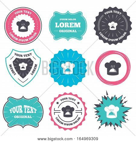 Label and badge templates. Chef hat sign icon. Cooking symbol. Cooks hat with hot dish. Retro style banners, emblems. Vector