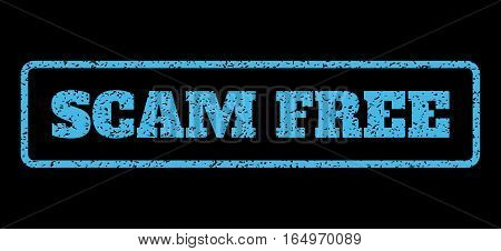 Light Blue rubber seal stamp with Scam Free text. Vector message inside rounded rectangular banner. Grunge design and scratched texture for watermark labels. Horisontal sticker on a black background.