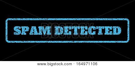 Light Blue rubber seal stamp with Spam Detected text. Vector tag inside rounded rectangular frame. Grunge design and dust texture for watermark labels. Horisontal sign on a black background.