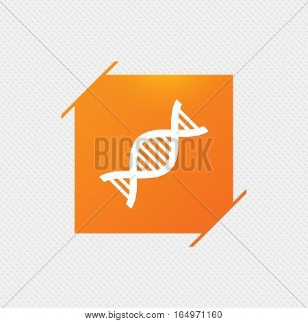 DNA sign icon. Deoxyribonucleic acid symbol. Orange square label on pattern. Vector