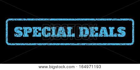 Light Blue rubber seal stamp with Special Deals text. Vector message inside rounded rectangular banner. Grunge design and dust texture for watermark labels. Horisontal sticker on a black background.