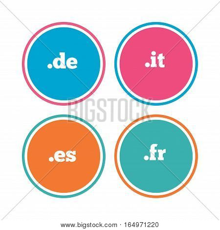 Top-level internet domain icons. De, It, Es and Fr symbols. Unique national DNS names. Colored circle buttons. Vector