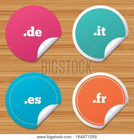 Round stickers or website banners. Top-level internet domain icons. De, It, Es and Fr symbols. Unique national DNS names. Circle badges with bended corner. Vector