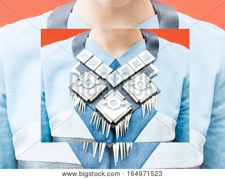Collage. Geometric creative jewerely. Fashion photo concept. Accessories