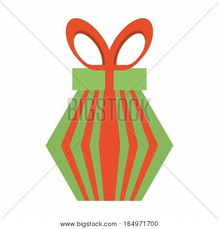 colored gift box red and green stripes bow vector illustration eps 10