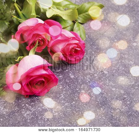 Beautiful pink roses and gerberas, toned image