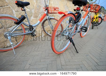close up of bike share in china