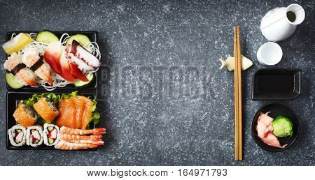 Sushi Set. Different sashimi sushi and rolls top view
