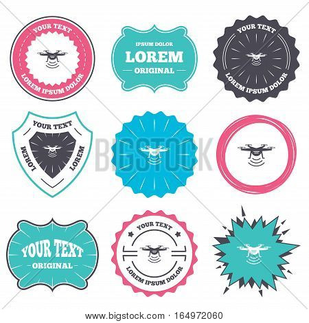 Label and badge templates. Drone icon. Quadrocopter with remote control symbol. Retro style banners, emblems. Vector