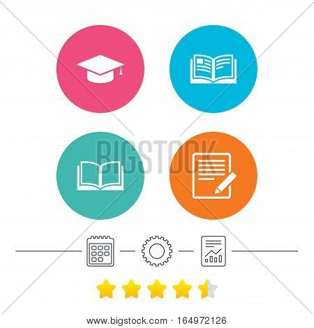 Pencil with document and open book icons. Graduation cap symbol. Higher education learn signs. Calendar, cogwheel and report linear icons. Star vote ranking. Vector