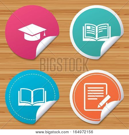 Round stickers or website banners. Pencil with document and open book icons. Graduation cap symbol. Higher education learn signs. Circle badges with bended corner. Vector