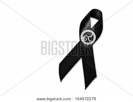 The Black Ribbon with number 9. Rama 9 of Thailand King. Isolated on white background Saved clipping path.