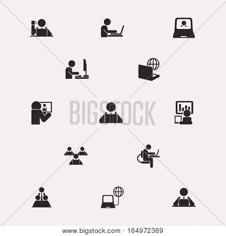 Design elements, icons, monochrome, computer work, vector
